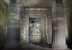 The 30 caves at Ajanta lie to the north of Aurangabad in the Indhyadri range of Western Ghats. The caves, famous for their temple architecture and many delicately. Ajanta Caves, Buddha Figures, Mahayana Buddhism, History Encyclopedia, Buddha Sculpture, Bodhi Tree, Temple Architecture, Ancient History, Archaeology