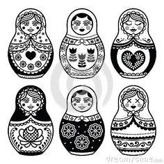 Matryoshka, Russian doll icons set