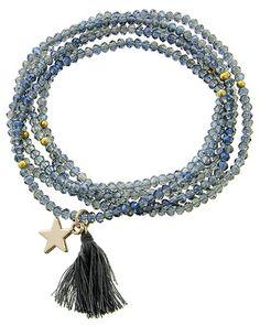 Gold Tone / Blue Glass Crystal & Grey Thread / Star & Tassel Charm / Stretch / Wrap Bracelet / Pendant Long Necklace