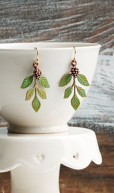 Leaf Earrings Green Leaf  Tiny Pine Cone EARRINGS Forest Earrings Rustic Woodland Wedding Romantic Whimsical