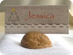 Walnut shell post card, place card, photo holder