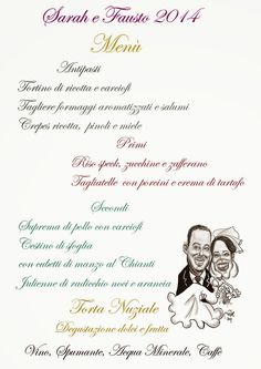 L'arte... non la metto da parte!: Menù Matrimonio con caricature