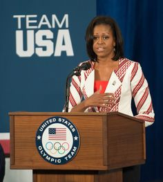 Americans dominated the 2012 Olympics, which brought out the American spirit! Patriotic clothing can vary from active wear to everyday wear. This trend has been growing within the general public, as well as celebrities. In this picture Michelle Obama is sporting a red peplum top, and a white and red striped jacket, showing a more subtle patriotic look. This trend may be short lived now that the olympics are over. Sydney W.