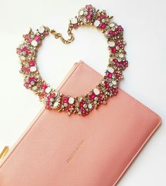 Pretty in Pink with our Nadia Statement necklace and Katie Loxton Perfect Pouch Statement Necklaces, Pretty In Pink, Pouch, Bracelets, Jewelry, Jewlery, Bijoux, Schmuck, Porch