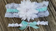 Something blue wedding garter set -White wedding garter with something blue