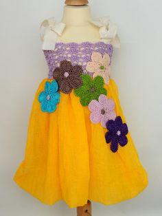 Detské oblečenie - Žlto-fialkové bubble šaty - 3863888_