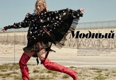 The blonde model strikes a pose in Marc Jacobs cape