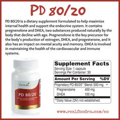 PD 80/20 is a dietary supplement formulated to help maximize internal health and support the endocrine system. It contains pregnenolone and DHEA, two substances produced naturally by the body that decline with age. Pregnenolone is the key precursor for the body's production of estrogen, DHEA, and progesterone, and it also has an impact on mental acuity and memory. DHEA is involved in maintaining the health of the cardiovascular and immune systems. #pd8020