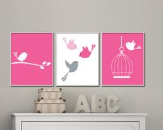 Nursery Bird Art Print, Wall Art Prints, Hot Pink, Pink and Gray Nursery Prints, Baby Girls Nursery Wall Art Print and Bedroom Decor - Custom Color.  This listing is for 3 art prints only - frame not included.  These prints are professionally printed on high quality heavyweight matte paper