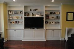 ikea hacks built ins around fireplace Built In Tv Unit, Built In Tv Cabinet, Built In Entertainment Center, Built In Cabinets, Tv Cabinets, Entertainment Room, Custom Cabinets, Built Ins, Kitchen Cabinets