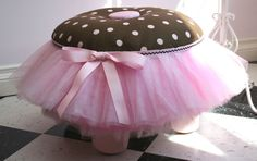 Ruffled Stool Ruffled Tuffet Pink and Brown by LittleGlamDiva