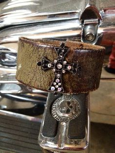 leather cuff with rhinestones | Vintage leather cuff bracelet with rhinestone cross on Etsy, $35.00