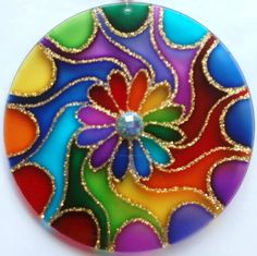 mandalas coloridas para parede - Pesquisa Google                                                                                                                                                                                 Más Mandala Art, Mandala Painting, Glass Painting Designs, Dot Art Painting, Stone Painting, Old Cd Crafts, Kids Crafts, Rock Crafts, Arts And Crafts