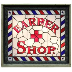 """1stdibs   1800's Double Sided Light Up Original Stained Glass """" Barber Shop """" Sign"""