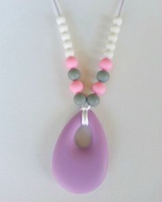 Silicone teething necklace  Lavender gray by pinkdiamonddesign, $26.00