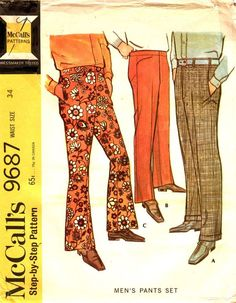 McCalls 9687 1960s Mens Pants Pattern Bell Bottoms Cuffed and ...