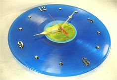 BEATLES 1967 1970 - Recycled Record Clock - Blue Color Vinyl RARE Apple Label. $34.00, via Etsy.