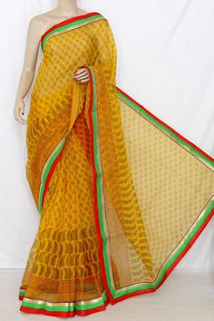 Yellow Block Printed Supernet Kota Saree (With Contrast Blouse) 12651 , Buy Supernet Kota Sarees online, Pure Supernet Kota Sarees, Trendy Supernet Kota Sarees , , online shopping india, sarees , sweets, cameras, shoes, watches, appliances, apparel, sweets online in india | www.maanacreation.com