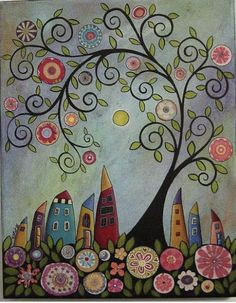 You are dealing with Karla Gerard, Maine Folk Art/Abstract Artist, Originator/Creator of concentric circles/flowers in trees paintings and in landscapes. Tree Of Life Painting, Plant Painting, Fabric Painting, Painting Art, Art And Illustration, Art Illustrations, Beginner Painting On Canvas, Wall Canvas, Canvas Art