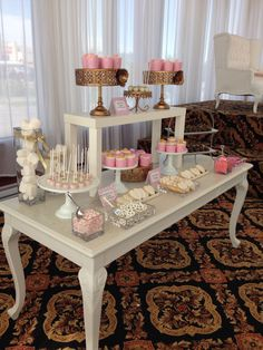 Blush gold and white -️sweet bar -bridal shower - Elegant Bridal Shower, Sweet Bar, Blush And Gold, Candy Buffet, Table Decorations, Home Decor, Decoration Home, Room Decor, Interior Design