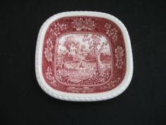 "Vtg Villeroy Boch ""Rusticana"" Red Square Serving Dish 7"" 