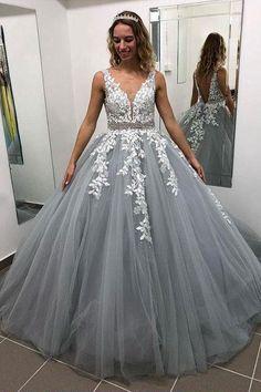 3b5ba265abf Gray V Neck Long Prom Dress for Teens