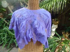 Nuno felted,  hand dyed merino and printed silk short poncho. by MazzsFibreArt on Etsy
