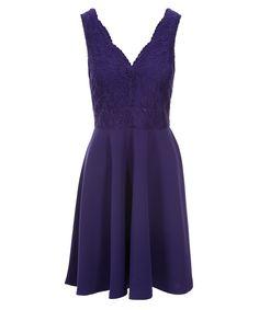 Lace Bodice Skirt Dress, Royal Purple