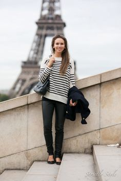 Stripes and flats oh la la -nice #traveloutfit. Sub skinny jeans or black pants for the leather leggings.