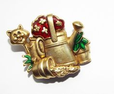 Vintage DANECRAFT enamel CAT figural BROOCH pin garden watering can costume  #Danecraft