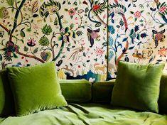 Apple green velvet, 17th century crewel work on the walls - Robert Couturier