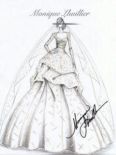 Hand-painted wedding dress 2013 by Joybuy Monique Lhuillier, Wedding Dress Illustrations, Wedding Dress Sketches, Fashion Illustrations, Kate Middleton Wedding, Dress Drawing, Fashion Design Sketches, Illustration Sketches, Designs To Draw