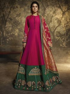 Bollywood diva jennifer winget pink partywear gown suit online which is crafted from silk fabric with exclusive embroidery and stone work. This stunning designer gown suit comes with santoon bottom and silk dupatta. Robe Anarkali, Costumes Anarkali, Silk Anarkali Suits, Lehenga, Silk Dupatta, Salwar Suits, Designer Anarkali, Jennifer Winget, Abaya Style