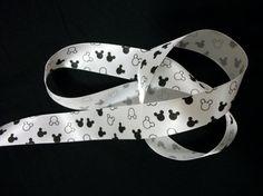 Disney Mickey Mouse on white Satin Ribbon / 125 by Universalideas, $1.40