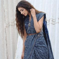 Rooted in Bagru-printed #Chanderi sarees with #zari borders; available now on www.jaypore.com