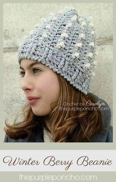 Winter Berry Beanie A Free Crochet Pattern on The Purple Poncho #crochet #beanies #fashion #crochetpatterns #thepurpleponcho