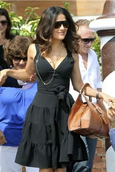 the perfect summer dress...Salma Hayek in Venice .