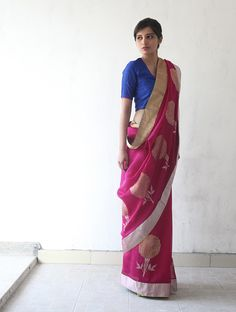 Deep Pink Golden Silver Chanderi & Zari Marigold #Saree By Raw Mango. Available Online At Jaypore.com.