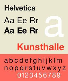 Max Miedinger, polices de caractère Grotesk, Haas Grotesk en 1957 qui deviendra l'Helvetica en 1960