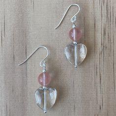 Recycled Crystal Heart  Cherry Quartz Earrings