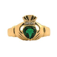 Yellow Gold Men's Emerald and Diamond Claddagh Ring Available Exclusively at Gemologica.com