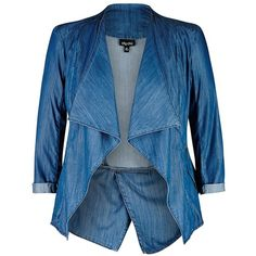 Drapey Denim Jacket (1 125 ZAR) ❤ liked on Polyvore