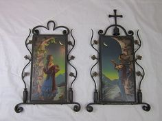 Mexican Moonlight Pair in Spanish Wrought Iron Frames | eBay  New tiles, new frames.  Don't usually like new but must make an exception for these!