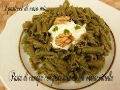 Pasta+di+canapa+con+pesto+di+rucola+e+stracciatella