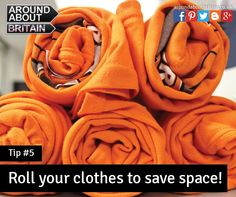 Roll your clothes to save space. Packing Tip. Staycation. Holiday. Travel. Britain. UK.