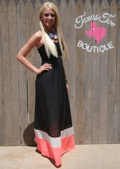 Black and Neon Pink Sweetheart Maxi Dress