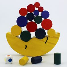 """""""Moon Balance Beam"""" Board Game,Children Educational Balance Toy, Puzzle Board Game, Environmental Protection Wooden Material"""