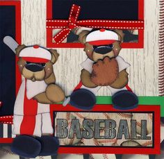 BASEBALL~ 2 Premade Scrapbook Pages paper piecing layout boy 4 album BY CHERRY