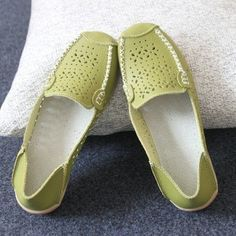 859784f432ff Leather Hollow Out Pure Color Breathable Slip On Flat Shoes
