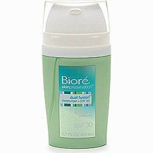 Biore Dual Fusion Moisturizer + SPF30  This was my favorite moisturizer ever, so sad they discontinued it. It was perfect for combination or oily skin and with a great SPF for the ghostly types like me.